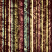 Colorful Vertical Stripes Background In Vintage Retro Style  Poster