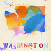 Colorful Washington State Map Poster