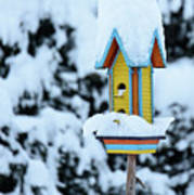 Colorful Wooden Birdhouse In The Snow Poster