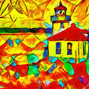 Colors Of Lime Kiln Lighthouse Poster
