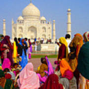 Colorful Saris At Taj Mahal Poster