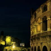 Colosseum Illuminated At Night And The Forums Poster