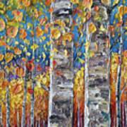 Colourful Autumn Aspen Trees By Lena Owens @olena Art Poster