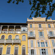Colourful Facade Of Traditional Buildings In Como, Italy Poster