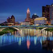 Columbus Ohio Skyline At Night Poster