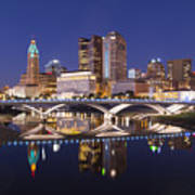 Columbus Skyline Reflection Poster