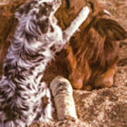 Comforting The Heifer With A Broken Leg Poster