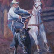 Comin At Ya      Calf Roping Painting Poster