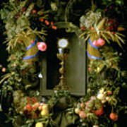 Communion Cup And Host Encircled With A Garland Of Fruit Poster by Jan Davidsz de  Heem