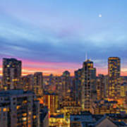 Condominium Buildings In Downtown Vancouver Bc At Sunrise Poster