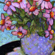Coneflowers In Lavender Vase Poster by Blenda Studio