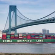 Container Ship Passing The Verrazano Bridge Poster