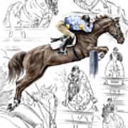 Contemplating Flight - Horse Jumper Print Color Tinted Poster