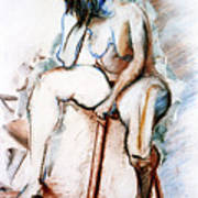 Contemplation - Nude On A Stool Poster