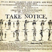 Continental Army Recruitment Broadside Poster