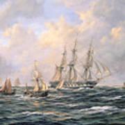 Convoy Of East Indiamen Amid Fishing Boats Poster