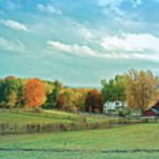 Cool Blue Autumn Farm Poster