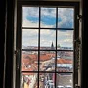 Copenhagen Cityscape And Roofs Behind A Window Poster