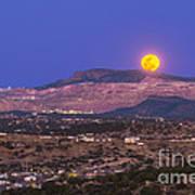 Copper Moon Rising Over The Santa Rita Poster