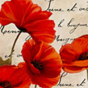 Coquelicots Rouge I Poster
