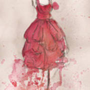 Coral Pink Party Dress Poster