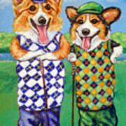 Corgi Golfers Pembroke Welsh Corgi Poster by Lyn Cook