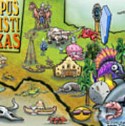 Corpus Christi Texas Cartoon Map Poster