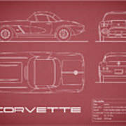 Corvette C1 Blueprint - Red Poster