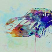 Corvette Watercolor Poster by Naxart Studio