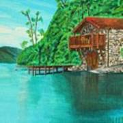 Cottage On Lake  Poster