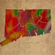 Counties Of Connecticut Colorful Vibrant Watercolor State Map On Old Canvas Poster