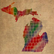 Counties Of Michigan Colorful Vibrant Watercolor State Map On Old Canvas Poster