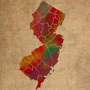 Counties Of New Jersey Colorful Vibrant Watercolor State Map On Old Canvas Poster