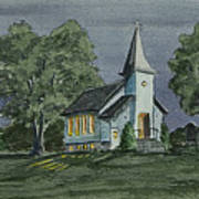 Country Church On A Summer Night Poster
