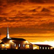 Country Church Sundown Poster