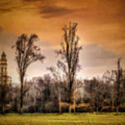 Countryscape With Bell Tower Poster