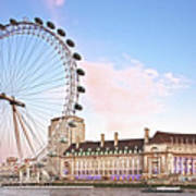County Hall And London Eye Poster