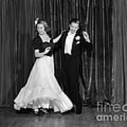 Couple Ballroom Dancing On Stage Poster