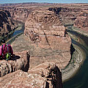 Couple Viewing Horseshoe Bend High Up Edge  Poster
