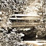 Covered Bridge At Lanterman's Mill Black And White Poster