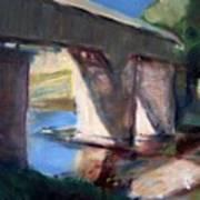 Covered Bridge At Low Water Poster