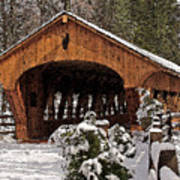Covered Bridge At Olmsted Falls-winter-2 Poster