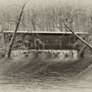 Covered Bridge In Black And White Poster