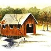 Covered Bridge In The Snow Poster