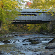 Covered Bridge Over Brown River Poster