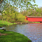 Covered Bridge Over The Lake Poster