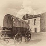 Covered Wagon And Stone Building Sepia Poster