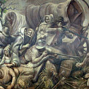 Covered Wagon Attacked By Indians Poster