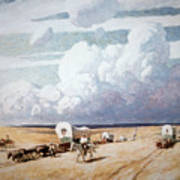 Covered Wagons Heading West Poster