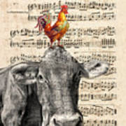 Cow And Rooster Poster